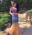 Sparkly Sexy Two Piece Long Mermaid Prom Dresses with Stones Crystal Beaded Party Proms Dress 2015