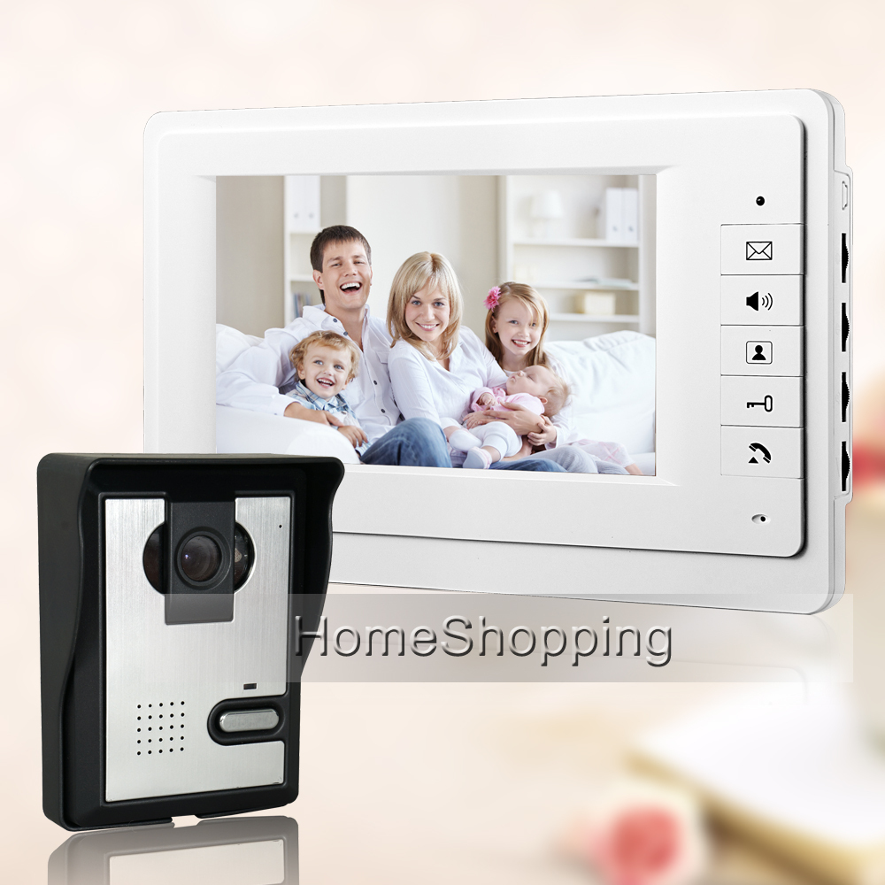 "Cheap! FREE SHIPPING NEW 7"" TFT LCD Apartment Video Intercom Door phone System With 1 White Monitor 1 Door Bell Camera IN STOCK(China (Mainland))"