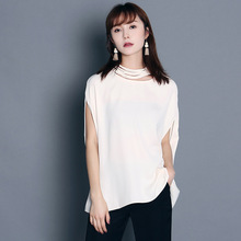 New Office Ladies 2016 Chiffon Blouses New Summer Women Elegant Hollow Out O-neck Casual Batwings Sleeves 3 Colors Clothing(China (Mainland))