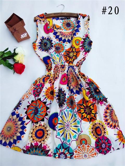 Горячая! 2015 новый 20 женщины стилей свободного покроя богемское леопарда печатные пляж шифоновое платье nz17