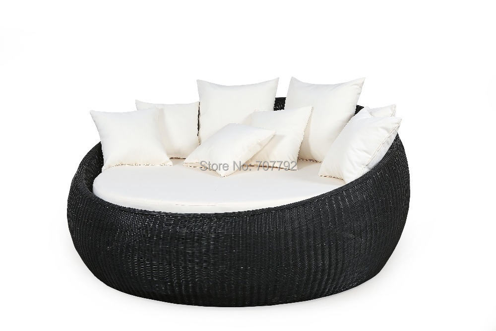 2016 Hot sale outdoor round rattan folding sofa bed(China (Mainland))