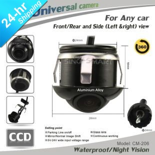High Quality HD CCD 360 Degree Rotation Universal Parking Camera for Car/Suv/Bus Side Rearview Waterproof Diameter 24mm(Hong Kong)
