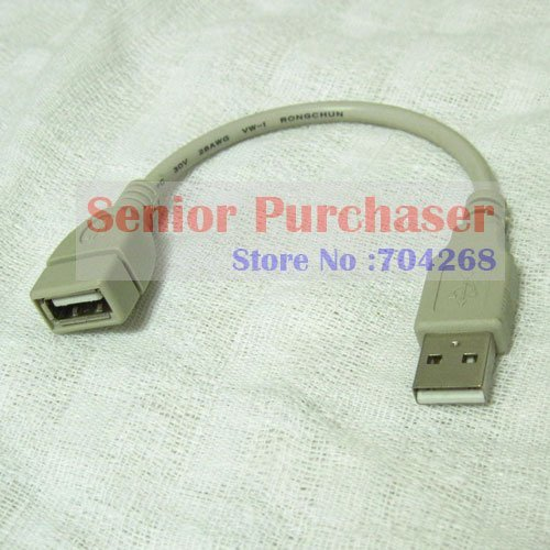 wholesale 50pcs a lot Gray USB 2.0 type A Male TO Female Extension data short Cable Cord