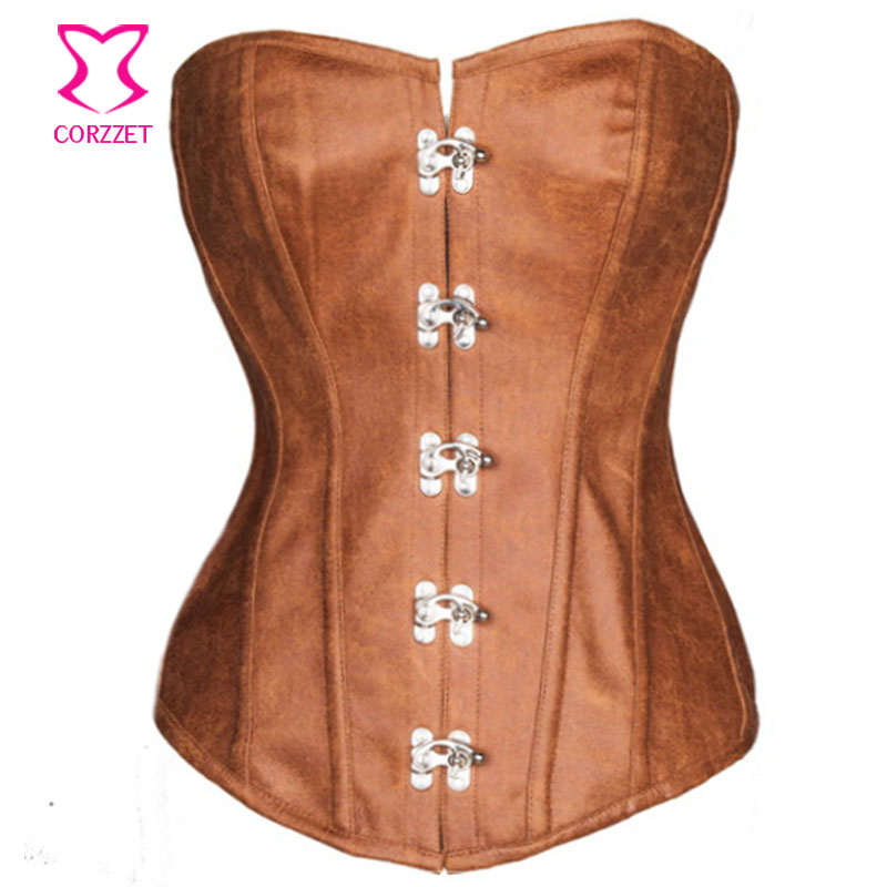 Steel Boned Waist Corsets Plus Size Corset Steampunk Brown Leather Corsage Woman Sexy Espartilhos E Corpetes Gothic Clothing 6XL(China (Mainland))