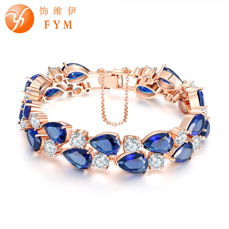 New Trendy 5 Colorful Cubic Zircon Wedding Bracelet for Women Fashion Rose Gold Silver Plated Jewelry Bracelets & Bangles BR0005(China (Mainland))