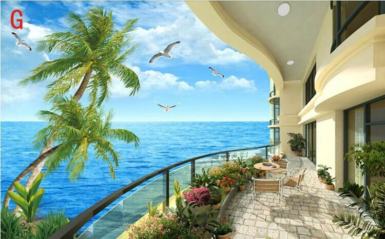 Free shipping 3d wallpaper murals sea scenery coco beach for Mural hidupan laut