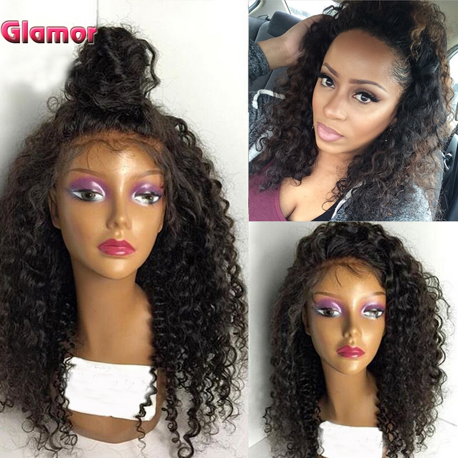130% Density Full Lace Wig Brazilian Virgin Afro Kinky Curly Human Hair Wig Glueless Lace Front Wig 10''-26'' Curly U Part Wigs(China (Mainland))