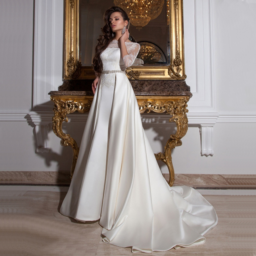 Buy simple elegant see through lace part for Lace three quarter sleeve wedding dress