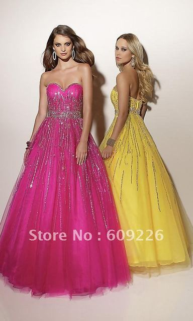 2012 Hot ! Strapless Sweetheart A-line Tulle Prom Dresses and Gowns with Embellishments on Bodice and Full Skirt / Custom Made