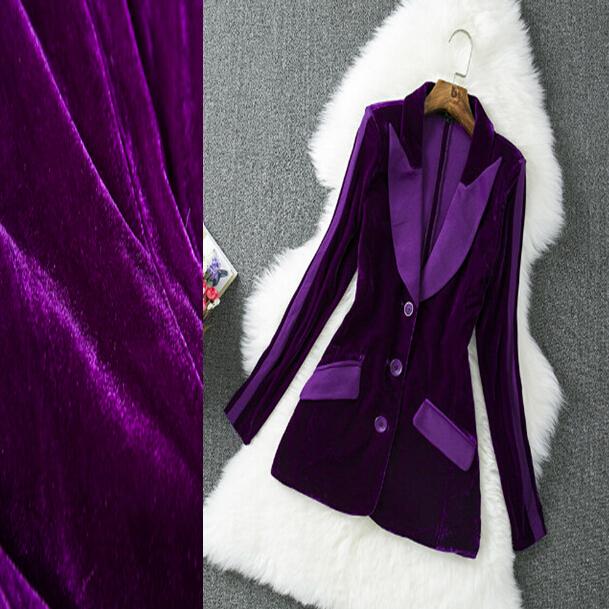 Зима бархат приталенный женщины с лацканами однобортная пуговица карманы длинная ...