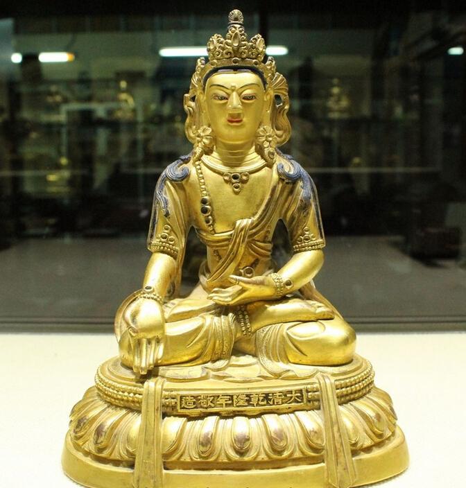 7 Tibet Buddhism Bronze Gilt Gold Shakyamuni Amitabha Kwan-Yin Buddha Statue wholesale Bronze Arts outlets(China (Mainland))