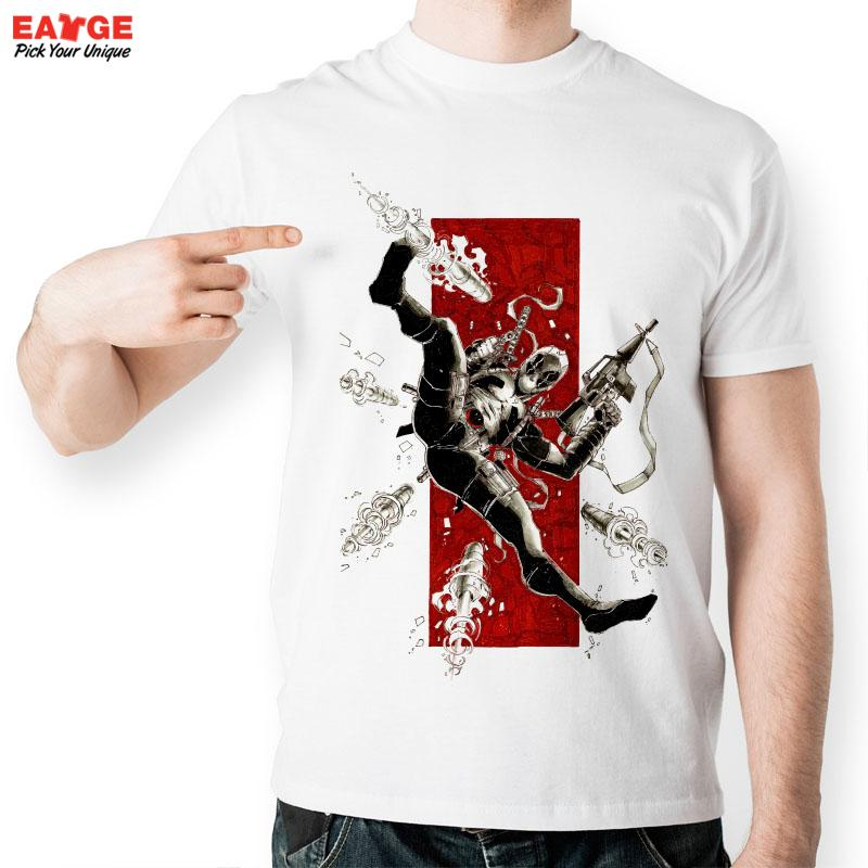 [EATGE] High Quality Hero Gun Combat T Shirt Funny White Print Pattern T-shirt Mutants Wade Wilson Tshirt For Men And Women(China (Mainland))