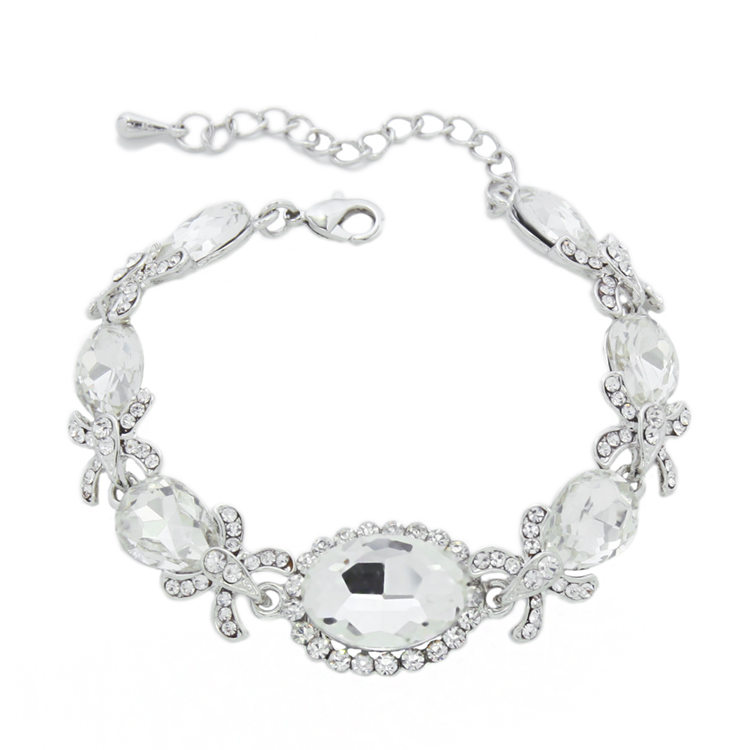 designer new luxury crystal wedding bracelets for women silver plated
