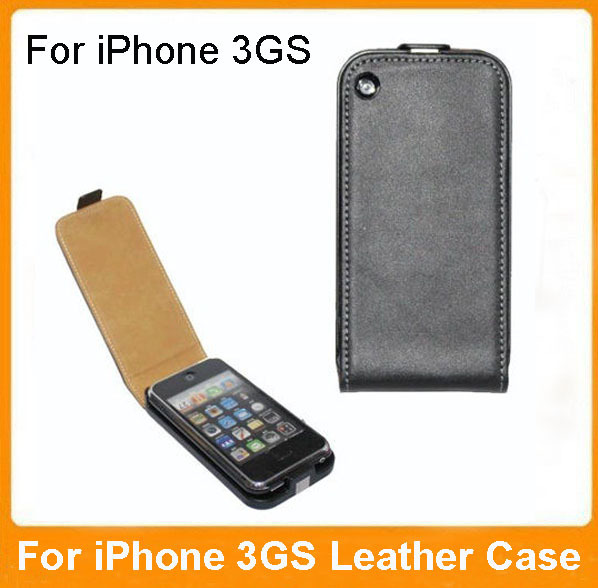 For iphone 3GS Leather Cases Open Up and Down Genuine Leather Case For iPhone 3G 3GS Vertical Flip Cover(China (Mainland))