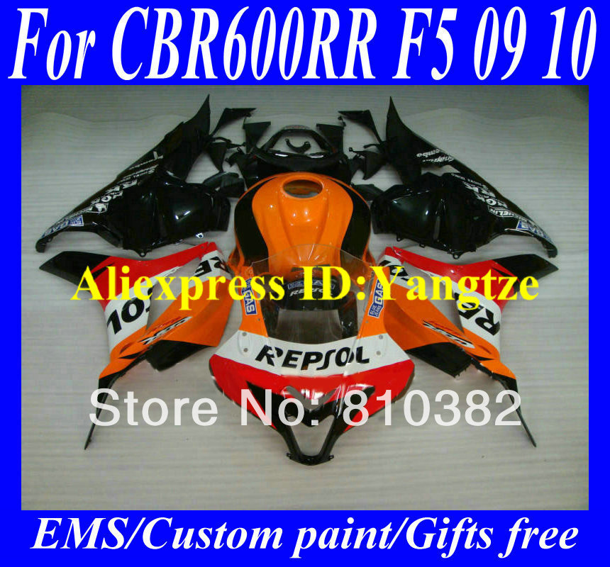 Injection Molded Fairing kit HONDA CBR600RR 09 10 CBR600 F5 2009 2010 REPSOL Red black ABS Fairings bodykit ZC16 - FAIRING KIT Co. Ltd store