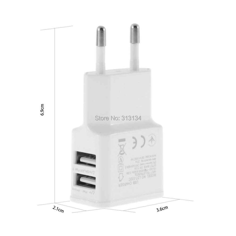 Universal 5V 2A EU plug Dual 2 Ports USB Wall Charger for Samsung for iPhone for HTC(China (Mainland))