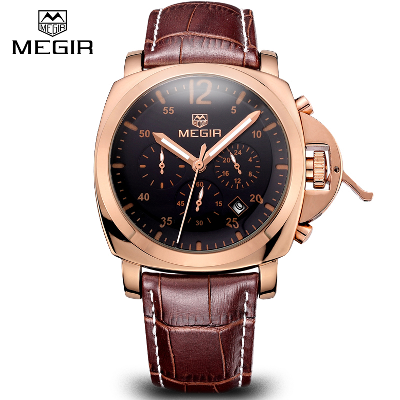 Megir Men Casual Watch Genuine Leather Luxury Men Watches Quartz Wristwatch CHRONOGRAPH & 24 hours Function Sport Watch relogio