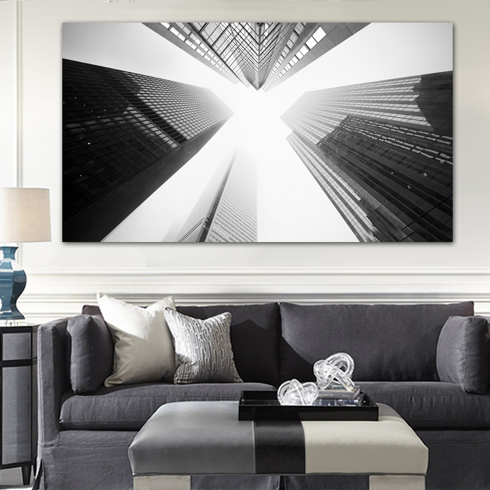 Toronto Skyscrapers Black and White wall art pictures modern city buildings print canvas oil paintings paintings home decor(China (Mainland))