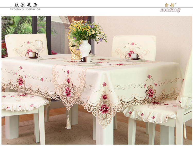 Hot sale Tablecloths Europe Polyester Tablecloth Embroidered Floral Hollow Table Cover Rectangular Elegant Home Party Wedding(China (Mainland))