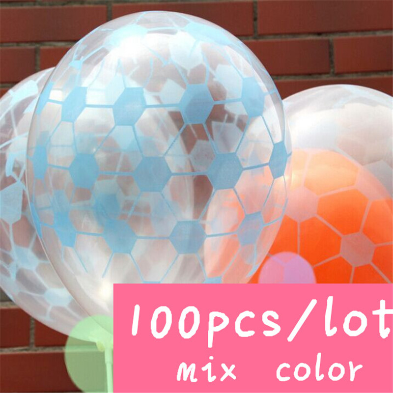 100pcs/lot 12inch fivesided printing balloon Transparent football marry Festival Birthday party romantic marriage room layout(China (Mainland))