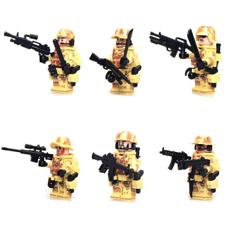 6pcs/lot model toys blocks Military CS elite police anti-terrorism commando special forces soldiers and equipment(China (Mainland))