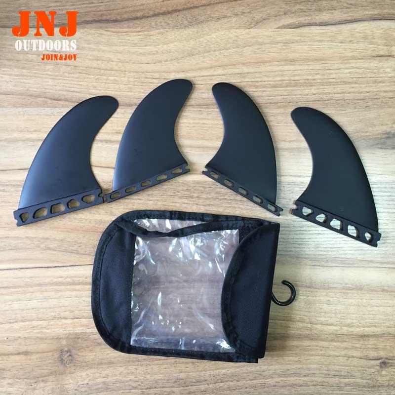 FREE SHIPPING Black fiberglass surfboard fin future F4 quad fin with bag(China (Mainland))