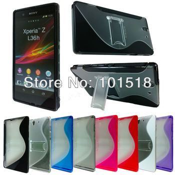 100pcs/lot&Free shipping Plastic Tpu Gel Cover Case with Stand for Sony Xperia Z L36h C660X C6603 Yuga