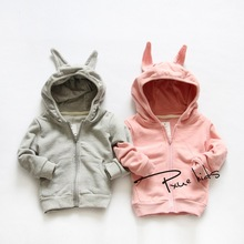 2015 Spring and autumn new boy and girls Rabbit style cotton coat Unisex children Hooded Neck full sleeve Jacket