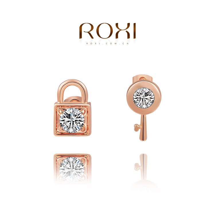 ROXI cut key lock earrings women created crystal rose gold white plated freeshipping - international trading LTD ( and retail store)