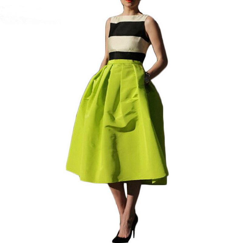 retro pleated maxi skirt high waisted saia midi puff
