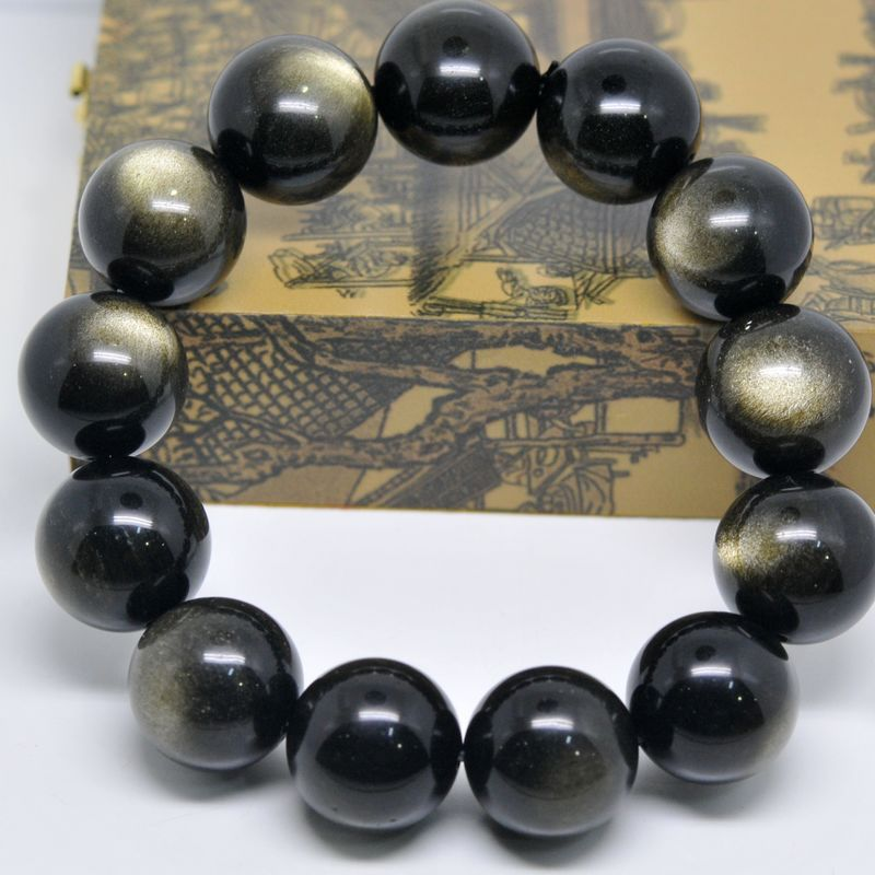 [ June - Golden Sun ] natural obsidian bracelet AAA Need Solar Eye -size gold Obsidian Bracelet(China (Mainland))