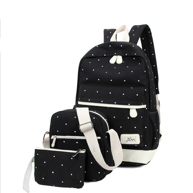 New Casual Women Backpack Canvas Korean Princess School Bags Travel Backpacks for Teenage Girls Preppy Style Dots Women Bag Set