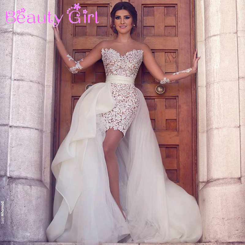 2016 new fashion short mini lace wedding dress with for Short wedding dress with removable train