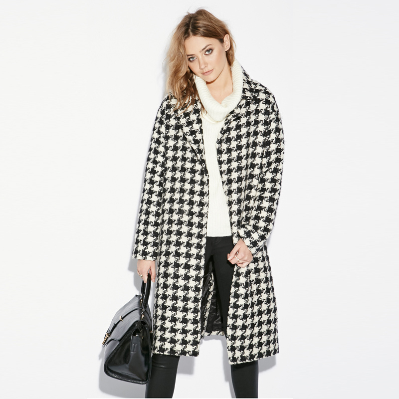 Houndstooth Wool Coat - Coat Nj