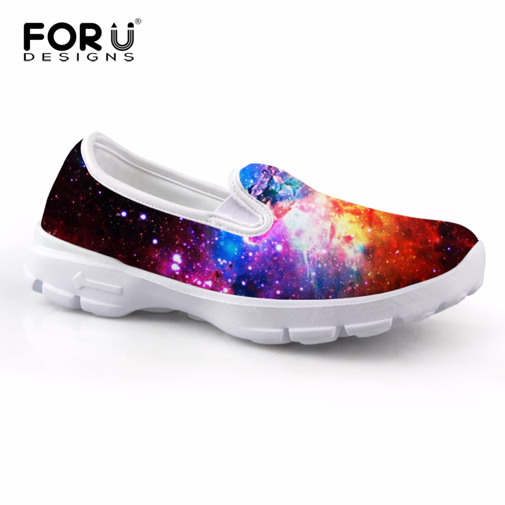 New Arrival Casual Women Loafers Shoes,3D Galaxy Comfort Breath Flats Ladies Shoes,Universe Space Star Zapatos Deportivos Mujer(China (Mainland))