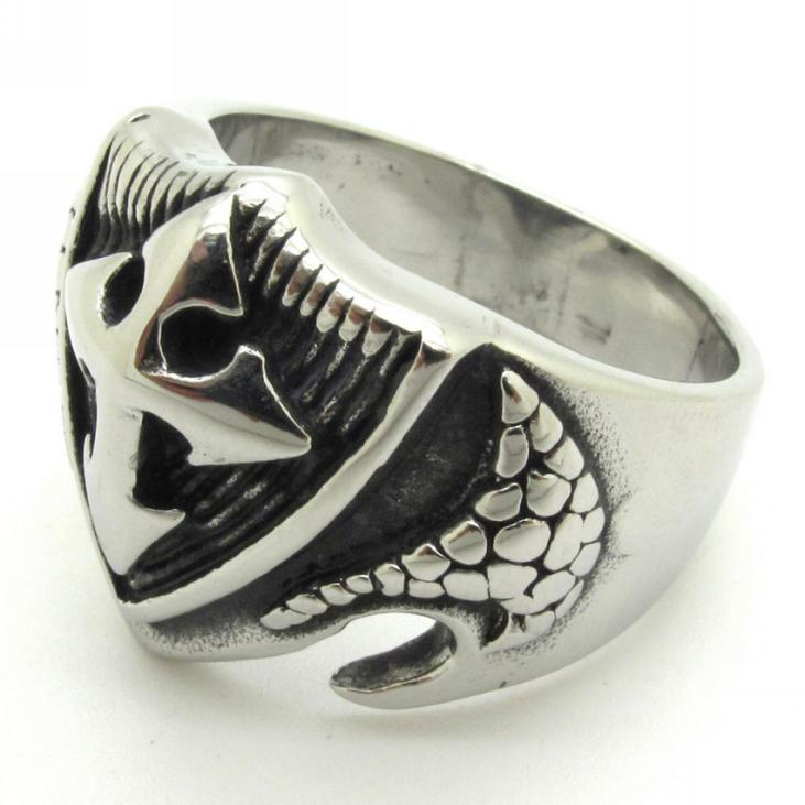 sale biker silver ring mens boys cool cross snake