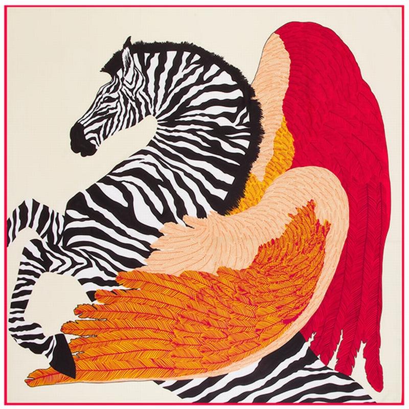 2016 New Zebra Pegasus Vintage Silk Twill Woman Scarf Brand Hand Rolled Kerchief Feather Wing Wraps Zebra Foulard Accessory(China (Mainland))
