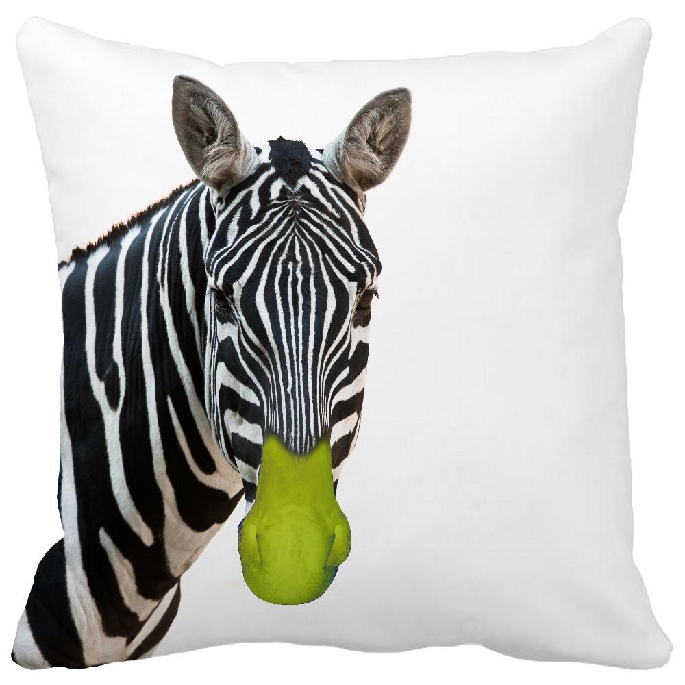 Cute Zebra Pillow : Cute zebra Green nose Print Custom Home Decorative Throw Pillow almofadas decorate pillow sofa ...