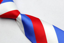 NT0010 Red Blue White Stripe Multi Color Smooth Jacquard Woven Classic type Silk Polyester Man s