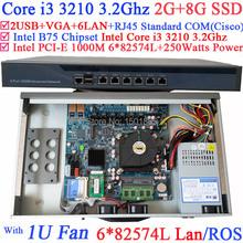 2G RAM 1U Network Router Firewall PC with 6 Gigabit 82583v LAN Intel Core i3 3210 3.2Ghz Wayos PFSense ROS 8G SSD(China (Mainland))