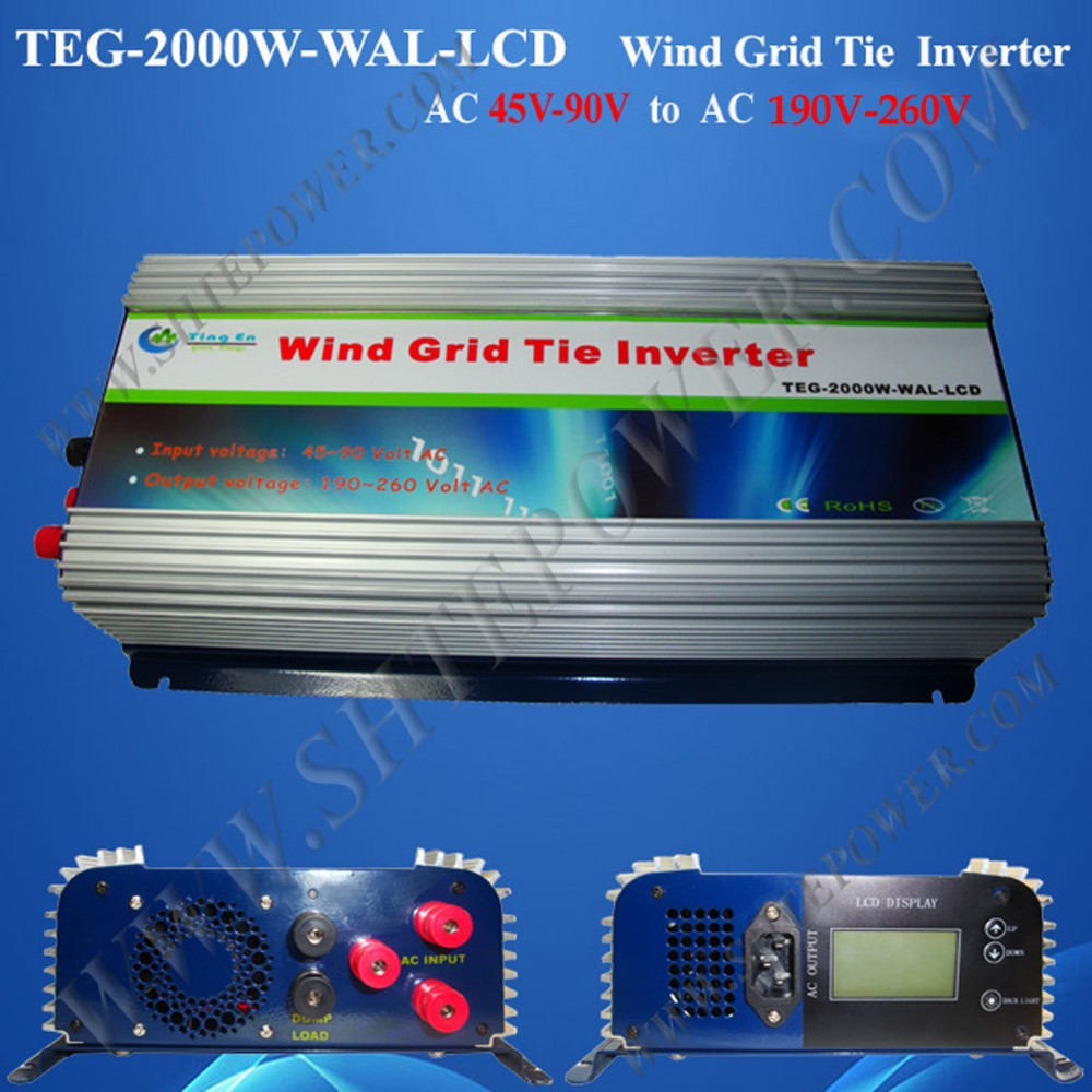 2000W/2KW Grid Tie Inverter,wind grid tie inverter,power inverter (TEG-2000W-WAL-LCD),MPPT Function AC45-90V input(China (Mainland))