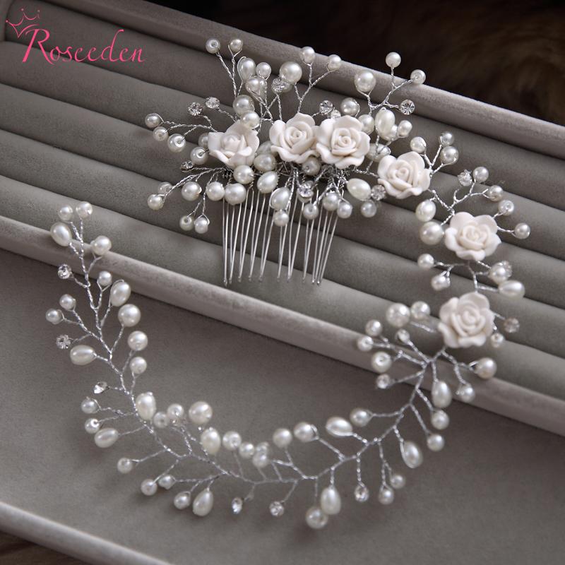 handmade hair combs Bridal floral headband women pearl jewelry hairband bridal tiara wedding accessories hair ornaments RE1(China (Mainland))