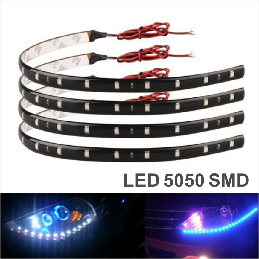 New 4Pcs 30cm blue/green/red/white waterproof Light 5050 12 SMD High Power Flexible LED Car Strips DRL Lamp Car Styling(China (Mainland))