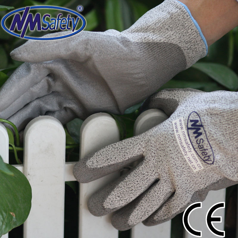 Free Shipping NMSafety 13 guage polyester/nylon liner coated PU on palm safety cut protect gloves HOT SELLING(China (Mainland))