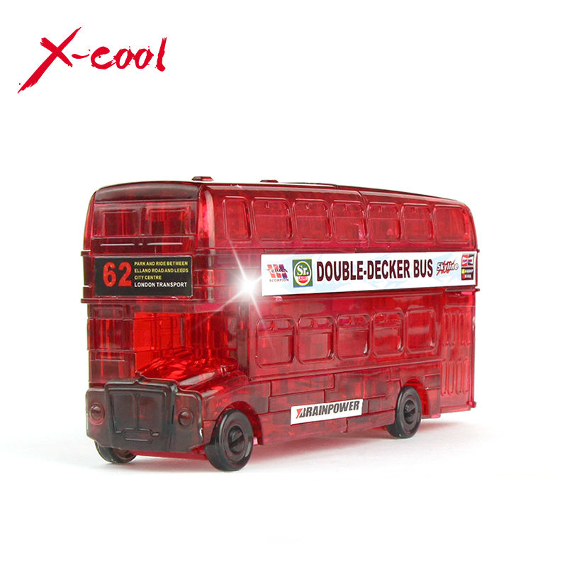 54pcs XC9062 DIY Funny Double-Decker Bus 3D Crystal Puzzles assembled model birthday new year gift children play set toy for kid(China (Mainland))