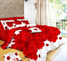 2015 new Cotton 3D Rose bedding sets, bedclothes, bedspread, duvet covers queen size, 4 pcs 3D Bedding sets free shipping!(China (Mainland))