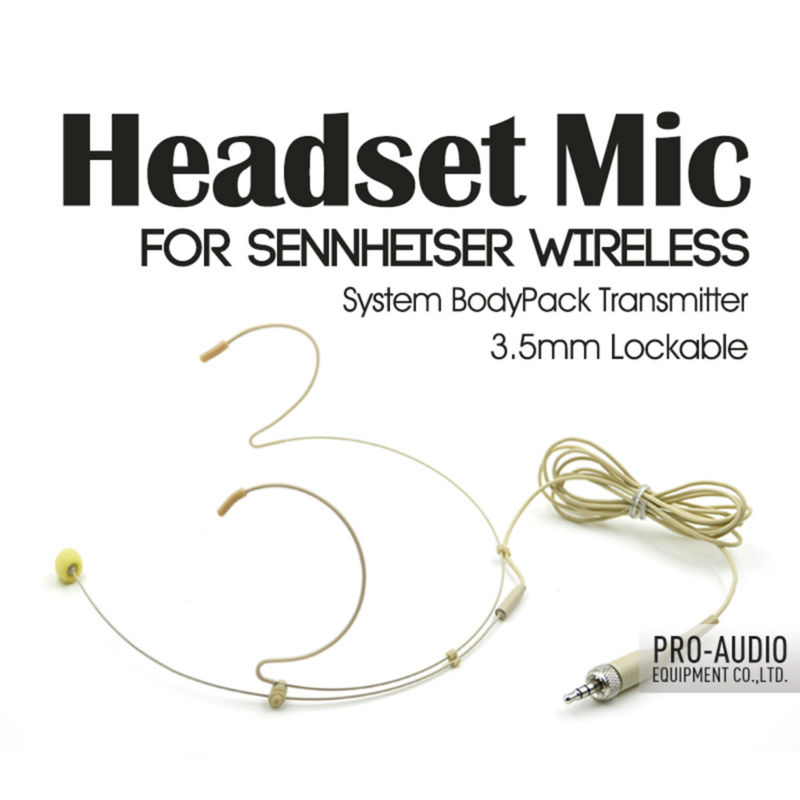 Free Shipping! Condenser Headworn Headset Microphone 3.5mm Screw Locking Plug Jack For Sennheiser Wireless Body-Pack Transmitter(China (Mainland))