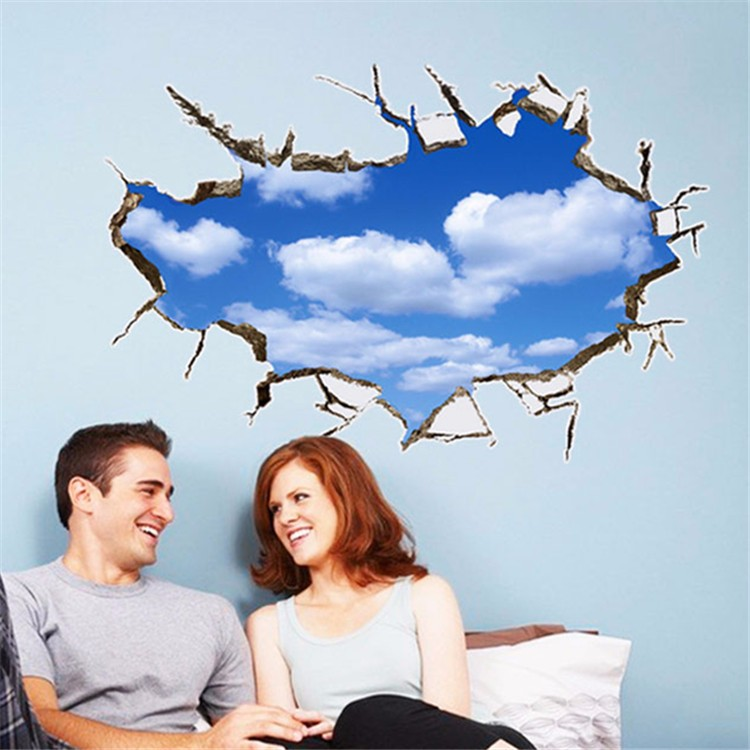 Creative 3D broken wallThe Clear Blue Sky And White Clouds scenery Household Adornment Can Remove The Wall Stickers vinyl PVC