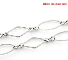 "Buy DoreenBeads 1PC Silver Tone Oval & Rhombus Link Chain 1M (39 3/8"") long, B21726, yiwu for $1.94 in AliExpress store"