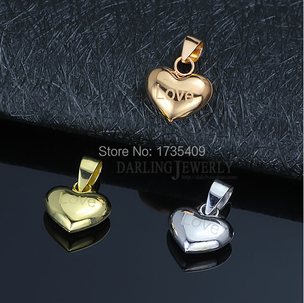 New Arrival Real 18K White Yellow Rose gold Heart LOVE Two-Sided Pendant 1PCS<br><br>Aliexpress